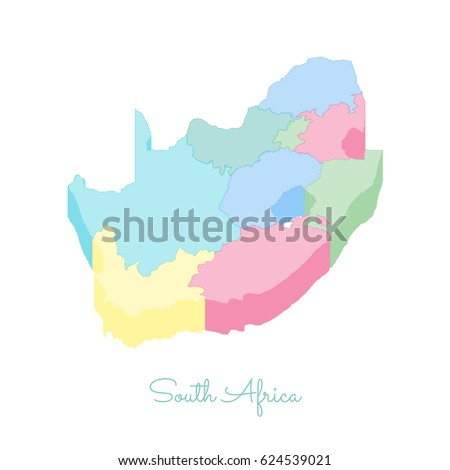 South Africa Region Map Colorful Isometric Stock Vector - South africa regional map