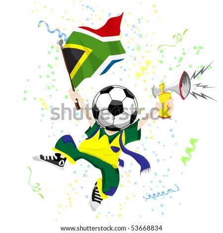 South Africa Soccer Fan with Ball Head. Editable Vector Illustration - stock vector