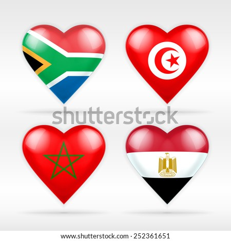 South Africa, Tunisia, Morocco and Egypt heart flag set of Asian states as collection of isolated vector state flags icon elements on white - stock vector
