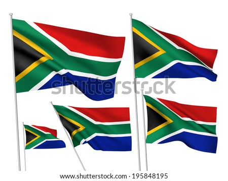 South Africa vector flags. A set of 5 wavy 3D flags created using gradient meshes. - stock vector