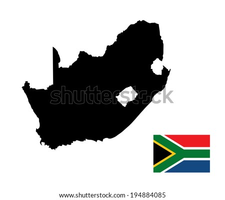South Africa vector map and flag isolated on white background. High detailed silhouette illustration. South Africa vector flag. - stock vector