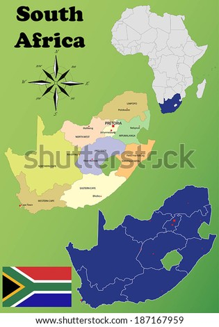 South Africa vector set. Isolated  - stock vector