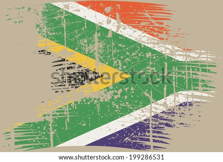 South African flag. A grunge - stock vector