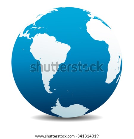 South America and Africa Global World - stock vector