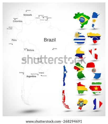 South America blind map with countries flags overlaid on outline state maps. - stock vector