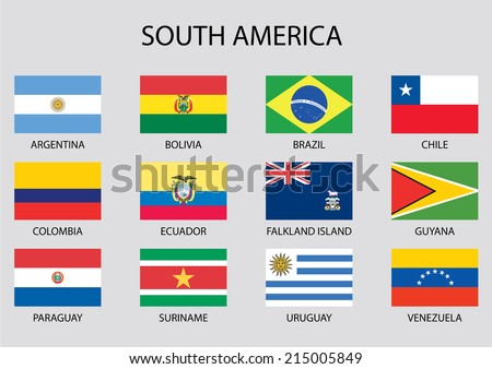 South America Continent Flag Pack - stock vector