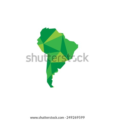 South America continent. Polygonal illustration. Vector - stock vector