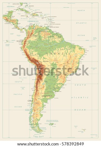 South america detailed physical map global vectores en stock south america detailed physical map with global relief lakes and rivers vintage color highly gumiabroncs Gallery