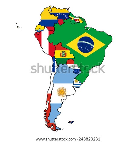 South America Flag Map All countries of South America colored in with their flag. - stock vector