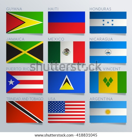 South America Flag Ribbon Set : Vector Illustration - stock vector