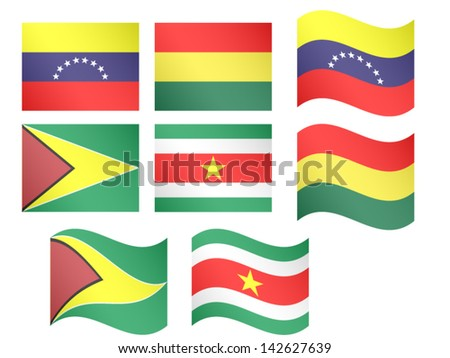 South America Flags Venezuela Bolivia Guyana Suriname with Coats of Arms EPS 10