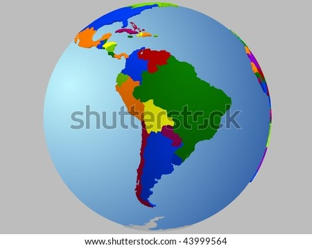 South America Globe, with the country in different colors. - stock vector