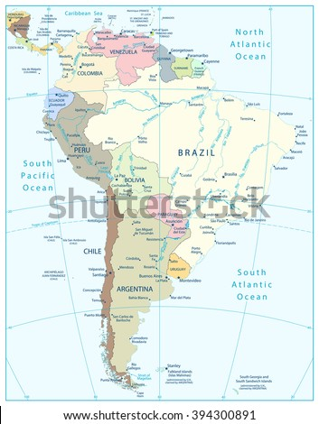 South America Highly Detailed Political Map.All elements are separated in editable layers clearly labeled. - stock vector