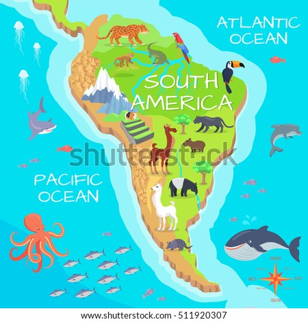 south america mainland cartoon map with fauna species cute american animals flat vector amazonian
