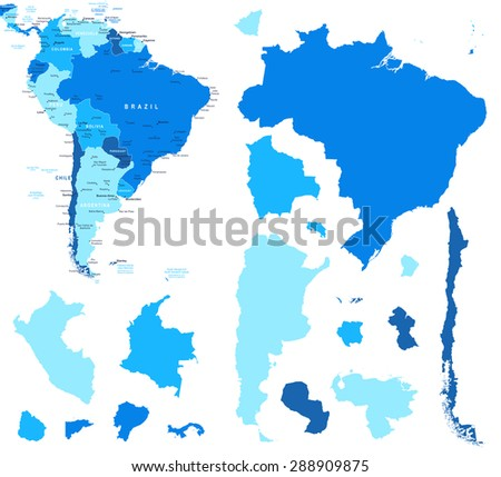 South America map and country contours - Illustration - stock vector