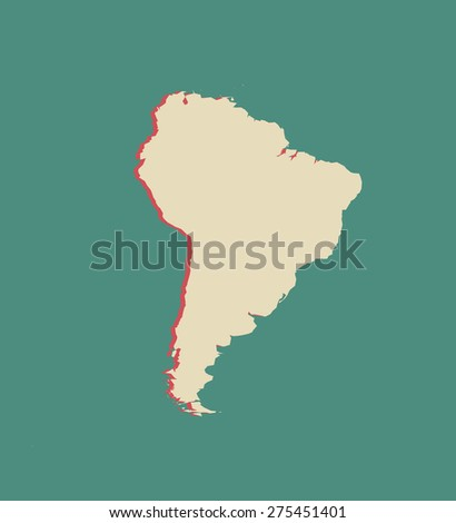 South America map outlines in a 3D design or background, vector map of South America in a three dimensional construction - stock vector