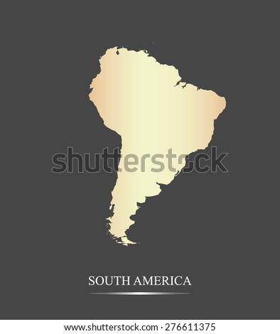 South America map outlines in an abstract black and white design, vector map of South America in a grey background - stock vector