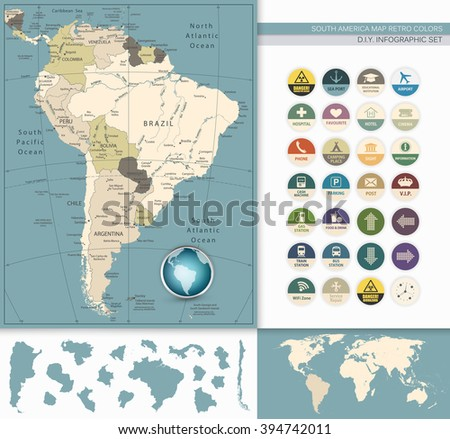 South America Map Retro Colors and Flat Icons.All elements are separated in editable layers clearly labeled. - stock vector