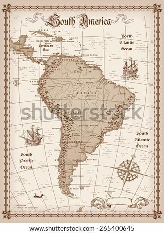 South America Map Vector  - stock vector