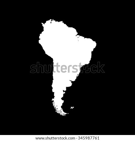 South America map vector icon isolated on black - stock vector
