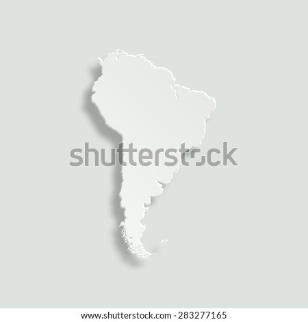 South America map vector icon - paper illustration - stock vector