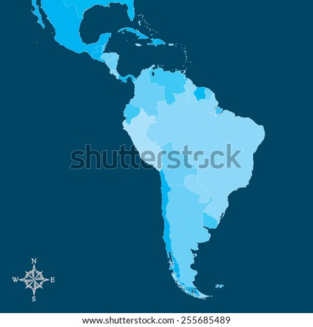 South America Map - Vector Map of South America with north arrow - stock vector