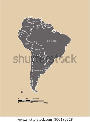 South America map vector, South America map outlines with mileage and kilometer scales and countries names  - stock vector