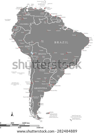 South America map vector with countries names and their capitals and main cities names and locations, and mileage and kilometer scales, South America map outlines in grey background - stock vector