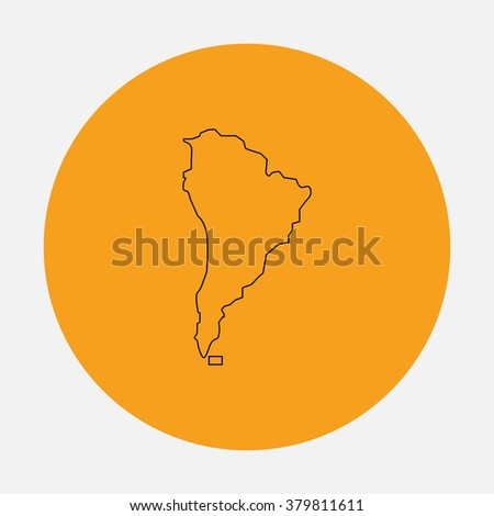 South america Outline vector icon on orange circle. Flat line symbol pictogram  - stock vector