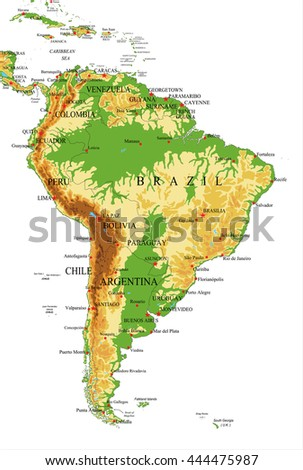 South Americaphysical Map Stock Vector Shutterstock - South america relief map peru