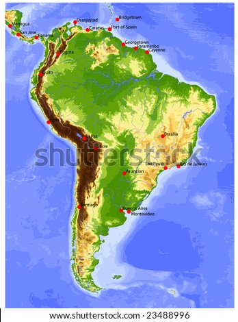 South America. Physical vector map, colored according to elevation, with rivers and selected cities. Surrounding territory greyed out. 27 layers, fully editable. Data source: NASA - stock vector