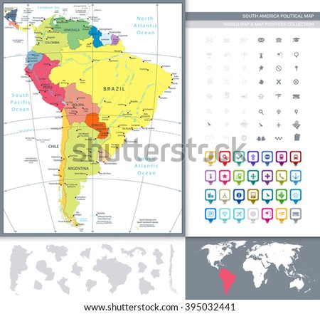 South America Political Map and Map Pointers. All elements are separated in editable layers clearly labeled. - stock vector