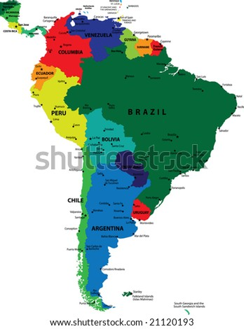 South America political vector map - stock vector