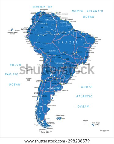 South America road map - stock vector