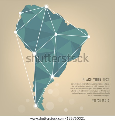 South America vector map - stock vector