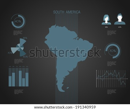 South America World map with different colored continents - Illustration