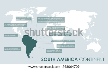south american continent facts - stock vector
