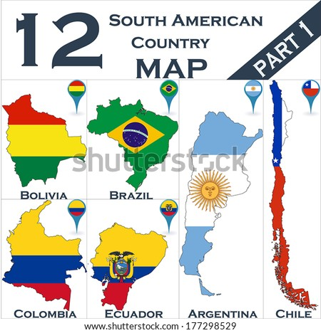 South American country set with map pointers - Part 1