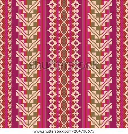South american fabric seamless pattern - stock vector