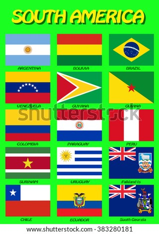 South American flags. Vector illustration. High level of details. Each flag is on separate layer. Isolated on green