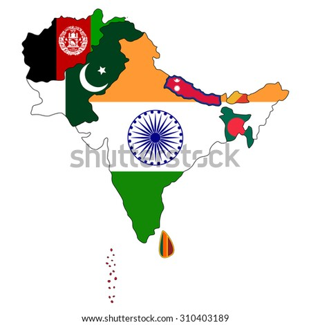 South Asia Flag Map - stock vector