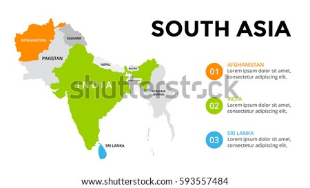 South Asia Map Infographic. Slide Presentation. Global Business Marketing  Concept. Color Country.
