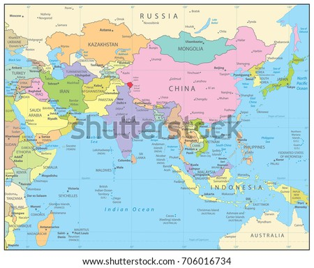 South Asia Political Map Detailed Vector Stock Vector (Royalty Free ...
