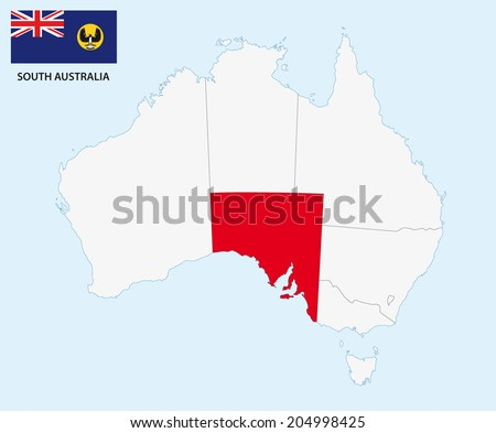 south australia map with flag - stock vector