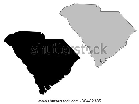 South Carolina map. Black and white. Mercator projection. - stock vector