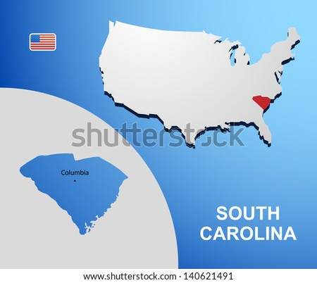 South Carolina on USA map with map of the state