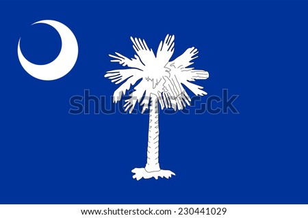 South Carolina State Flag vector. Original South Carolina flag isolated vector in official colors and Proportion Correctly.  - stock vector