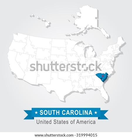 South Carolina state. USA administrative map.