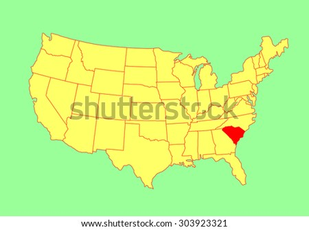 South Carolina Vector Map Flag Isolated Stock Vector - South carolina in usa map