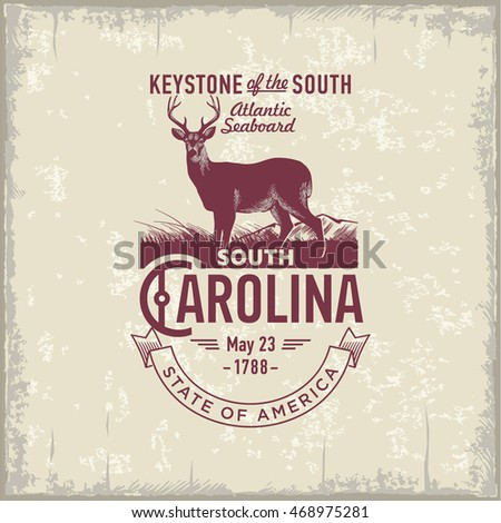 South Carolina, stylized emblem of the state of America, deer, vintage
